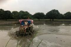 Plöjning av fält med lånad traktor